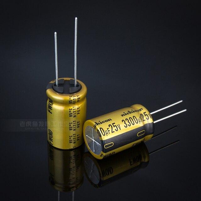 10pcs NIEUWE NICHICON FW 3300UF 25V 16X25MM audio 3300 uF/25 V Elektrolytische condensator 25V3300uF filter versterker 25V 3300UF