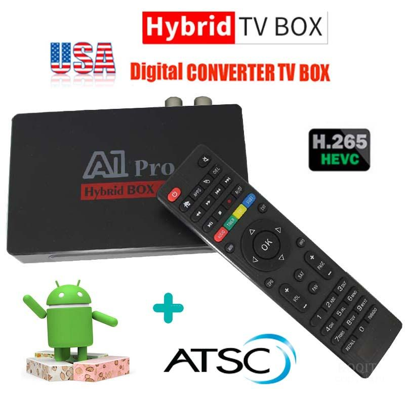 Quad Core Android 7.1 & Local TV Channels H.265 Android TV Box ATSC Tuner Analog Flat Antenna UHF VHF ATSC Digital Converter Box