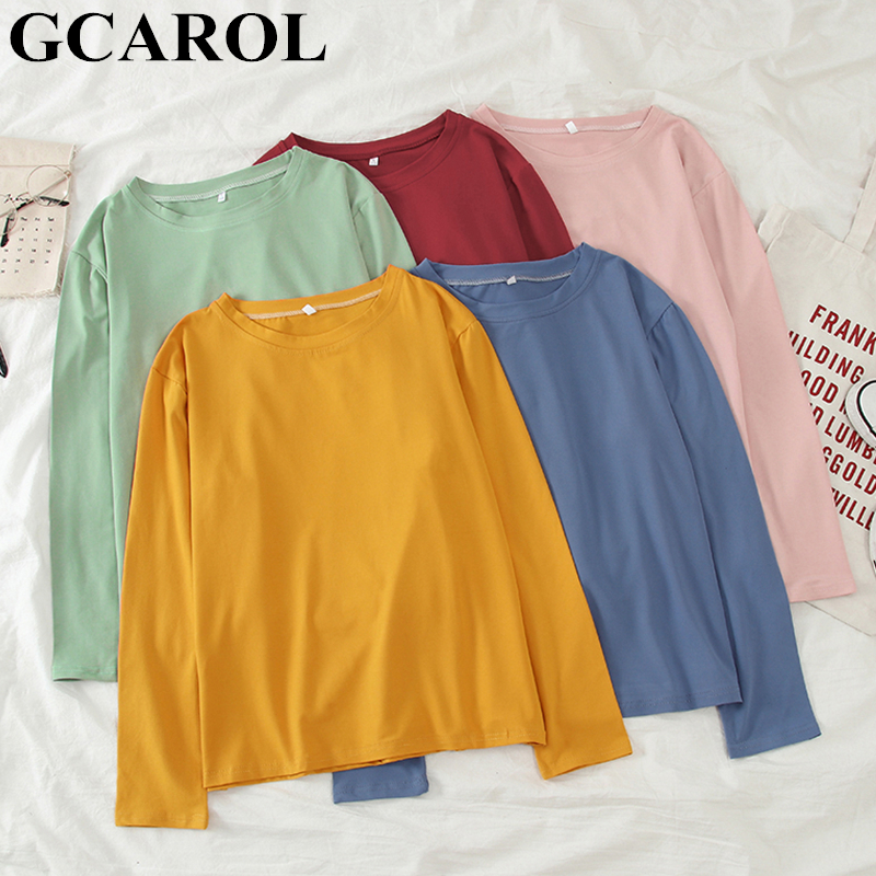 GCAROL 2019 Spring Fall Oversize Women T-shirt Candy Streetwear Casual Shirt  Perfect Basics Tops Render Unlined Upper Garment