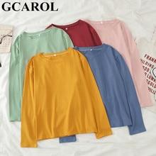 GCAROL – T-shirt surdimensionné pour femme, Streetwear, parfait, basique, hauts, rendu, sans doublure, vêtement supérieur, printemps-automne