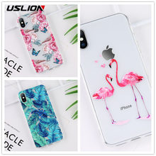USLION Clear TPU Silicone Case For iPhone X 8 7 Plus Transparent Cartoon Flamingo Green Leaves Phone Cover for iPhone XS Max XR(China)