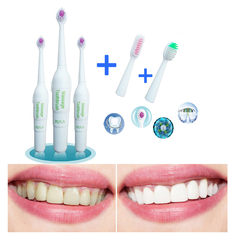 1 Set Professional Oral Care Electric Toothbrush With Replacement Heads Deep Clean Battery Operated Tooth Brush Teeth Whitening