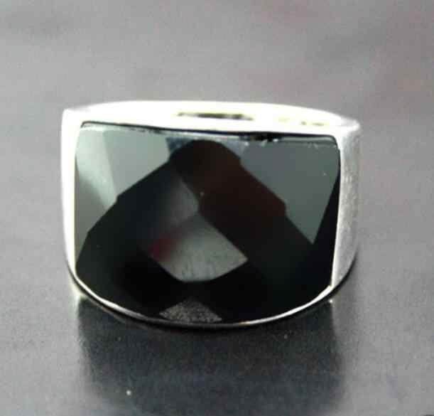 เครื่องประดับไข่มุกแหวน 7*20 มม.ธรรมชาติ FACETED หินธรรมชาติสีดำ ONYX 925 แหวนเงินขนาด 7/ 8/9/10 จัดส่งฟรี