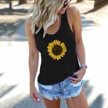 Ladies Vest Tank-Tops Sunflowers-Print Women Sleeveless Summer Casual Tee Round Funny
