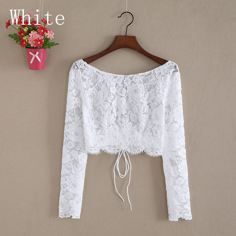 Купить с кэшбэком New Arrival O Neck Lace Jacket Wedding Bolero Women Long Sleeve Bridal Wrap Wedding Coat Lace Jacket Boho Wedding FJ32