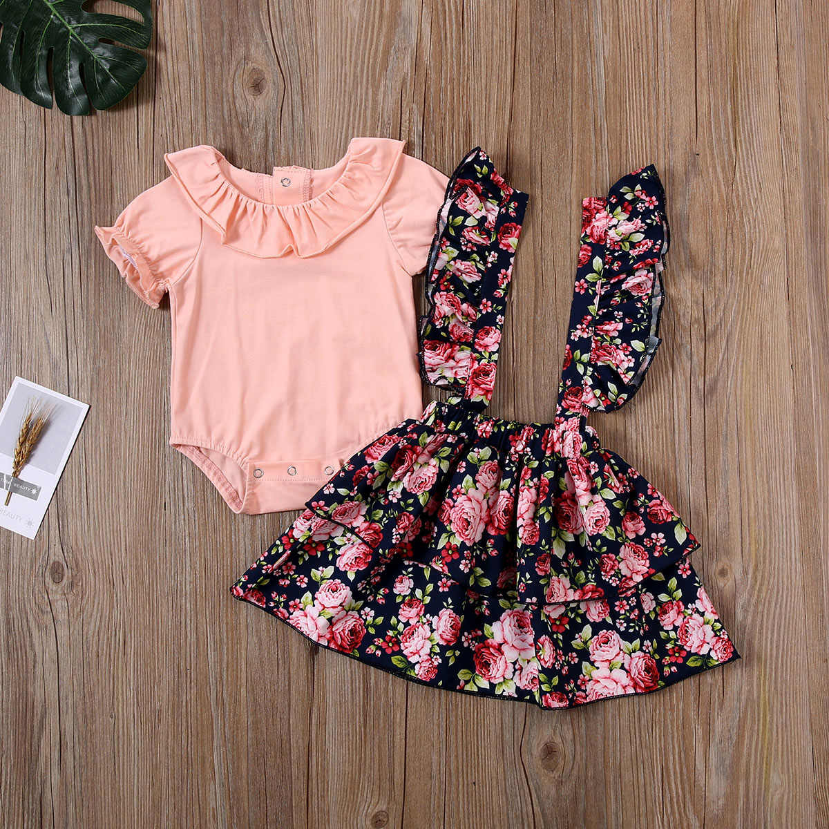 Toddler Baby Girl Clothes Overall Dress Yellow Shirt Floral Suspender Skirt Set 2-6T