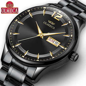 Olmeca relógios dos homens marca superior de luxo quartzo relógio preto militar à prova dmilitary água esporte relógio pulso relogio masculino aço inoxidável