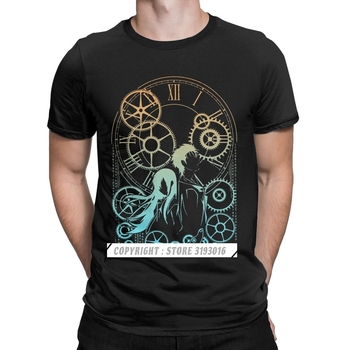 Funny Time Steins Gate T Shirts Cotton Tshirt Harajuku Anime Mayuri Makise Manga Daru Shiina Rintaro Game Tee Shirt Man image