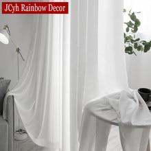 Wysokiej jakości białe pół zgniecione Sheer zasłony do salonu okno pokoju Solid Color długi tiul zasłona do sypialni Voile Party zasłony