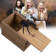 Caixa de madeira aranha assustador, no caso, brincar de piada, horror assustador, brinquedos interessantes como presente para bebê 2020 venda quente