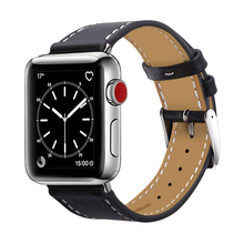 VIOTOO Black 42mm 44mm Leather Watch Strap For iwatch band with Stainless Metal Buckle for Apple Watch Series 4 3 2 1 band цена и фото
