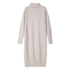 Image 5 - Turtleneck Cashmere  Knitted Sweater Dress Women Autumn Spring Noodles Elastic Long Sleeve thick  Pullover  Winter Dress