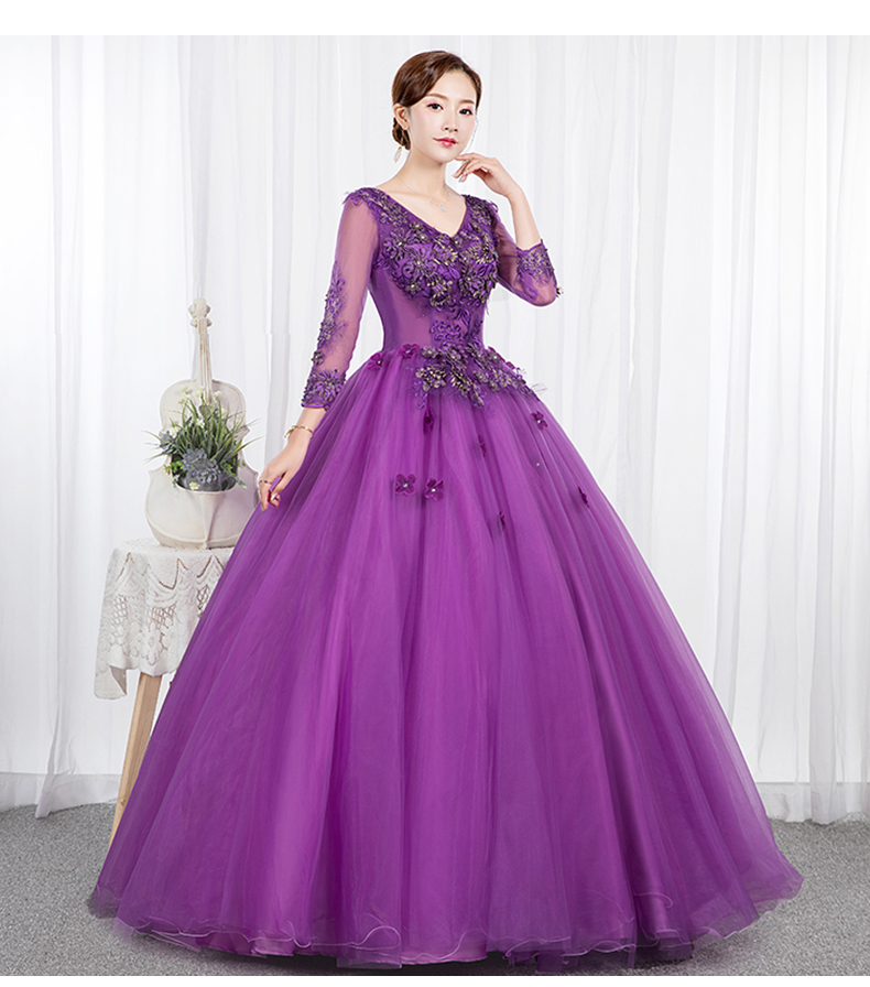 Roxo quinceanera vestidos de renda apliques manga