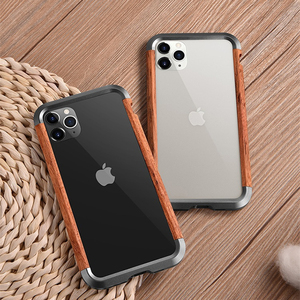Image 2 - R JUST Luxury Aluminum Metal Wood Bumper Case for iPhone SE 2020 11 Pro Max X 7 8 XR XS MAX Slim Natural Wood Brand Phone Cover