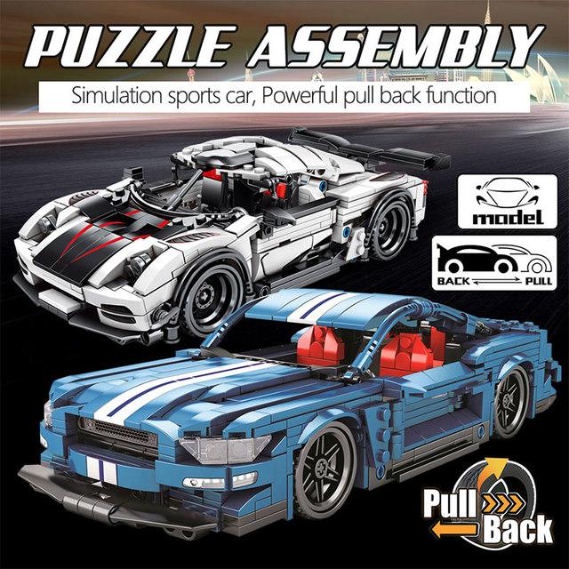 728PCS City Diy Pull Back Mechanical F1 Racing Car Building Blocks For Technic Car Bricks Toys For Children Boy
