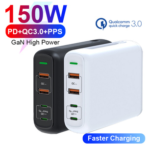 URVNS 150W PD QC 4.0 3.0 GaN Quick Charger with Dual Type C 100W PPS Fast Charging Power Adapter for MacBook Pro, Lenovo, iPhone