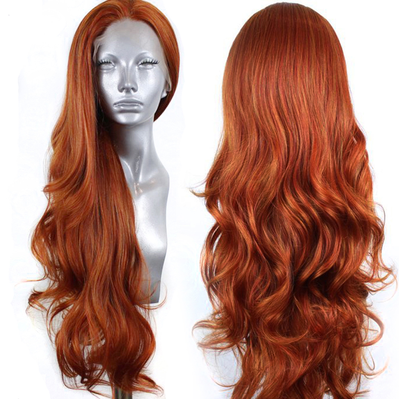 Charisma Long Body Wave Synthetic Lace Front Wig Copper Red Wigs High Temperature Heat Resistant Fiber Hair Lace Wigs For Women