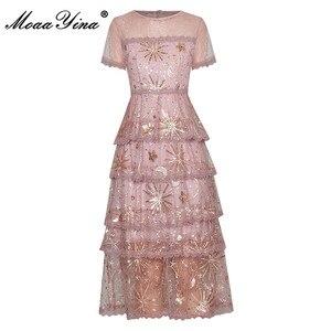 Женское платье с коротким рукавом MoaaYina, элегантное платье с золотыми линиями и блестками на лето