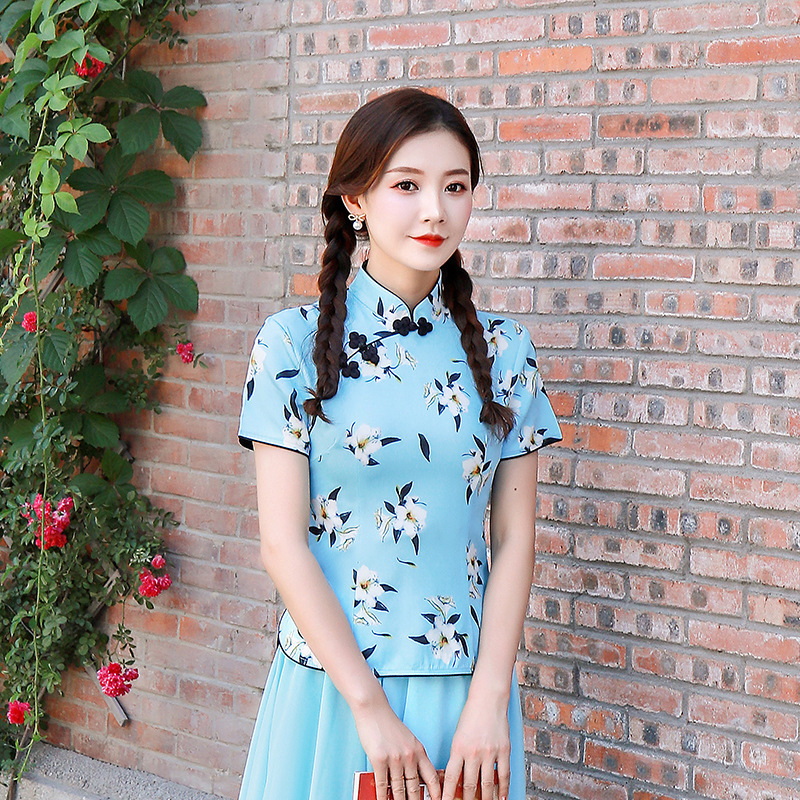 S-4XL Plus Size Chinese Tops Shirts Blue Printing Flowers Chinese Tops Woman Pink Shirt Tops Clothing