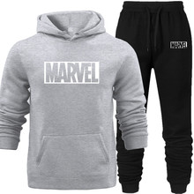 Jacket+pants 2PCS Fashion Hooded Hoodies Pants Marvel Tracksuit Sweatshirt Sweat Suit Sweatshirts All-match Street Autumn