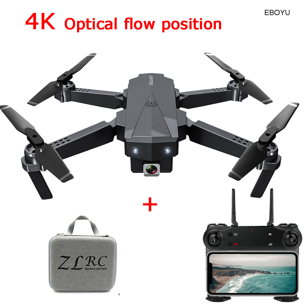 EBOYU SG107 Foldable RC Drone 4K HD Camera WiFi FPV Drone Follow Me Optical Flow Positioning Altitude Hold RC Quadcopter RTF