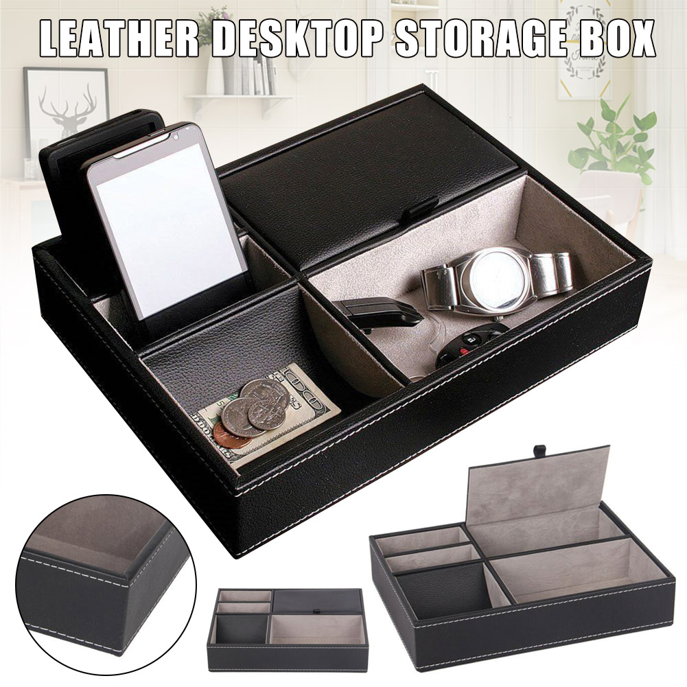 PU Leather Watch Protective Box Case Watch Jewelry Ring Display Storage Tray Desktop Holder Organizer For Women Men J55