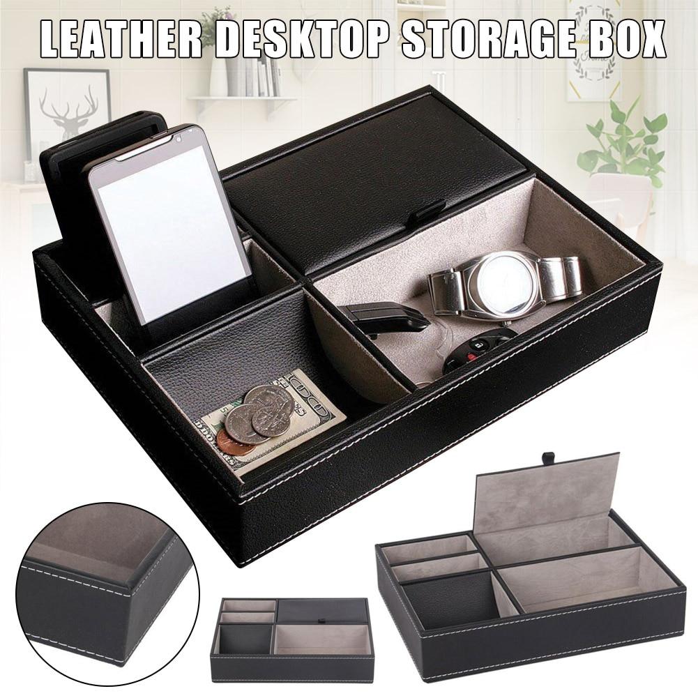 PU Leather Watch Protective Box Case Watch Jewelry Ring Display Storage Tray Desktop Holder Organizer For Women Men J55