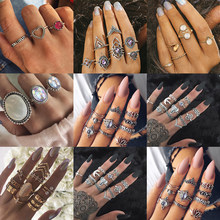 Vagzeb Fashion vintage ring boho variety ladies ring multi-element combination ring set national wind girl gift()