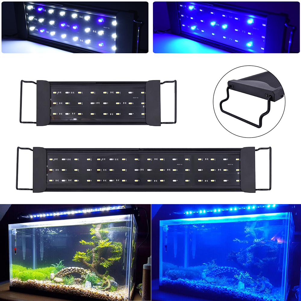 Super Bright 12/24W <font><b>LED</b></font> Aquarium Light Fish Tank Light Grass Lamp for 30-<font><b>80cm</b></font> Planted Fish Tank White Warm White Blue Light D25 image