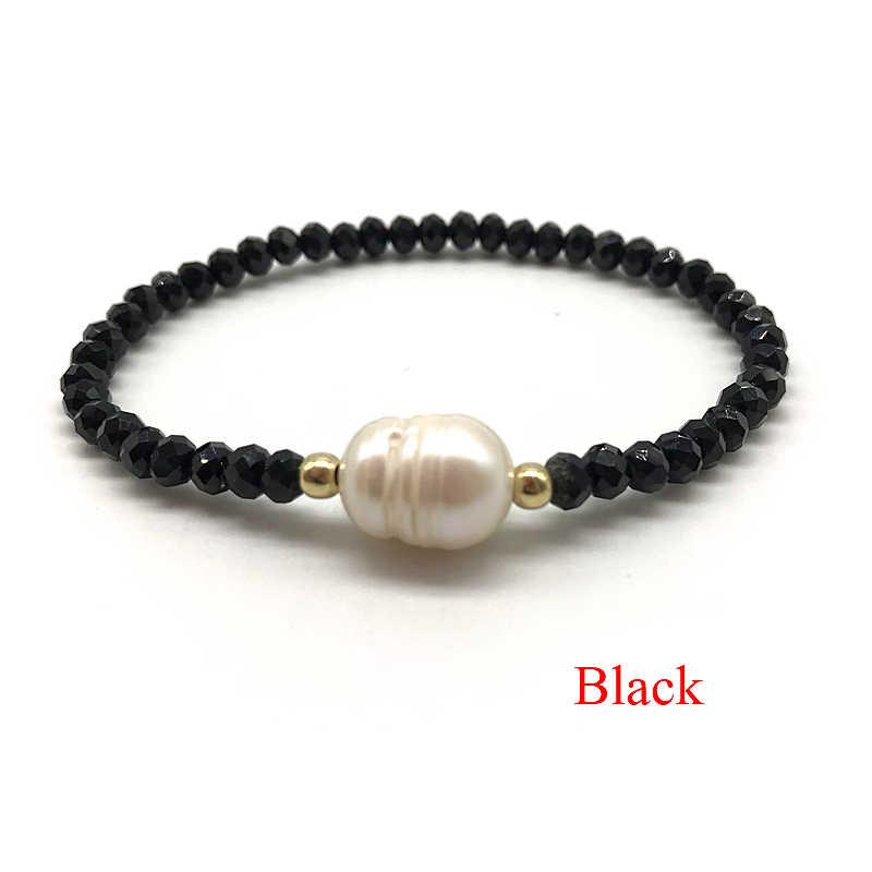 Ręcznie robione elastyczne kryształowe słodkowodne bransoletki z pereł dla kobiet biżuteria boho bransoletka prawdziwe perły biżuteria prezent dla kobiet