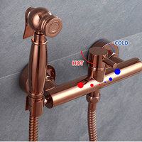 Women's rose gold washer cold hot suit faucet toilet cleaners syringe gun nozzle