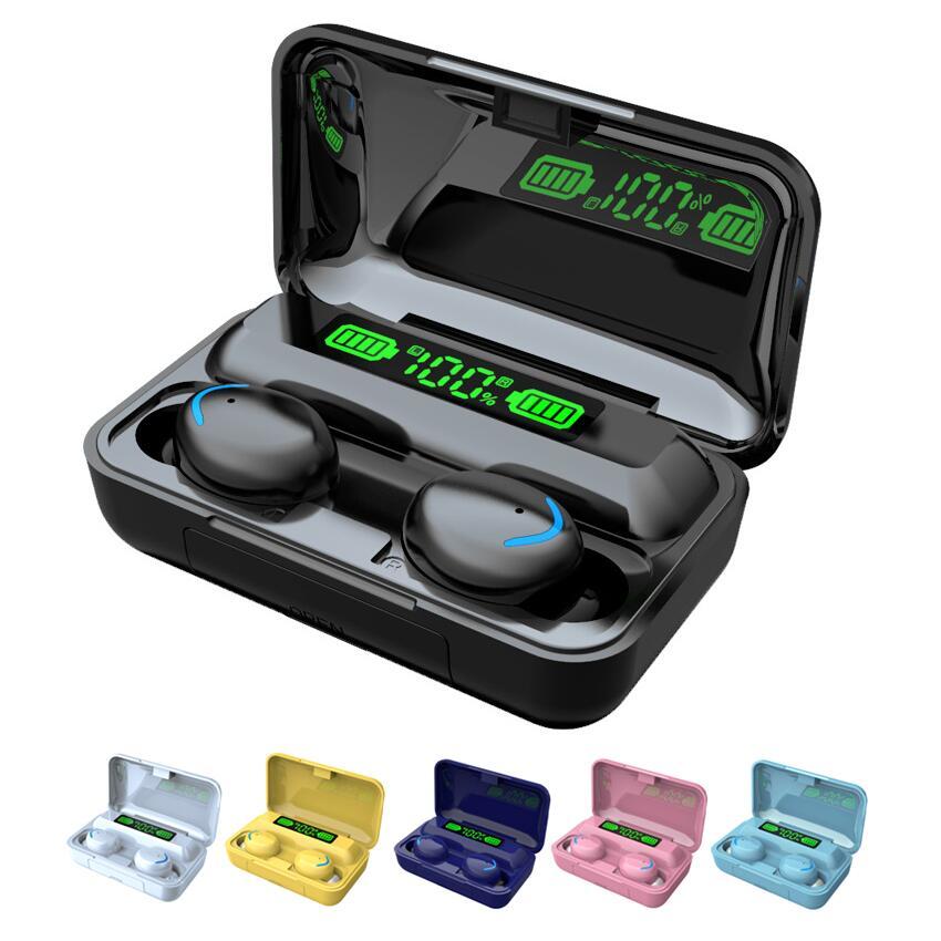 TWS Bluetooth-תואם אוזניות 2200mAh טעינת תיבת אלחוטי אוזניות סטריאו ספורט עמיד למים אוזניות אוזניות עם מיקרופון