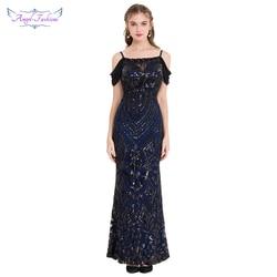 Engel-fashions Vintage Gatsby Party Pailletten Meerjungfrau Lange Abendkleid Abendkleid 381 220