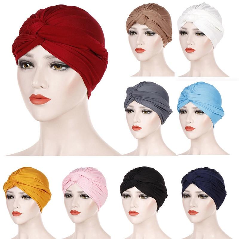 2019 New Women Cotton Turban Stretchy Muslim Hijab Bright Color Indian Caps Cross Bonnet Headwraps Ladies Muslim Hijab Caps