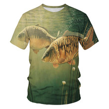 Ocean fish pattern men's and women's t-shirts Harajuku solid color 3D printing t-shirts fishing fun men's t-shirts