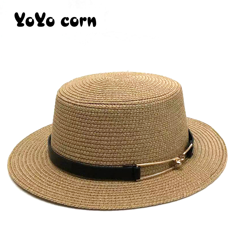 Panama Side With Beach Bucket Cap Girl Topee Ladies Shade Black Belt Simple Summer Sun Hats For Women Chapeau Feminino Straw Hat