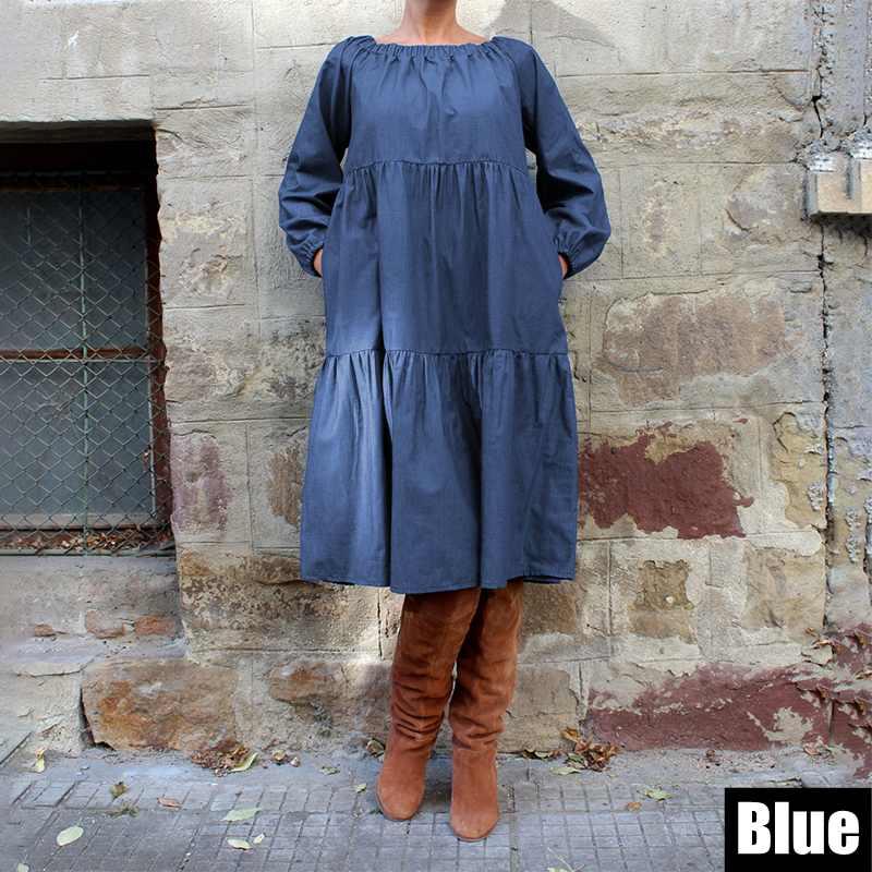 Plus Size Denim Dress VONDA 2019 Bohemian Autumn Long Lantern Sleeve Knee-Length Dress Casual Vestido Off Shoulder Sundress 5XL