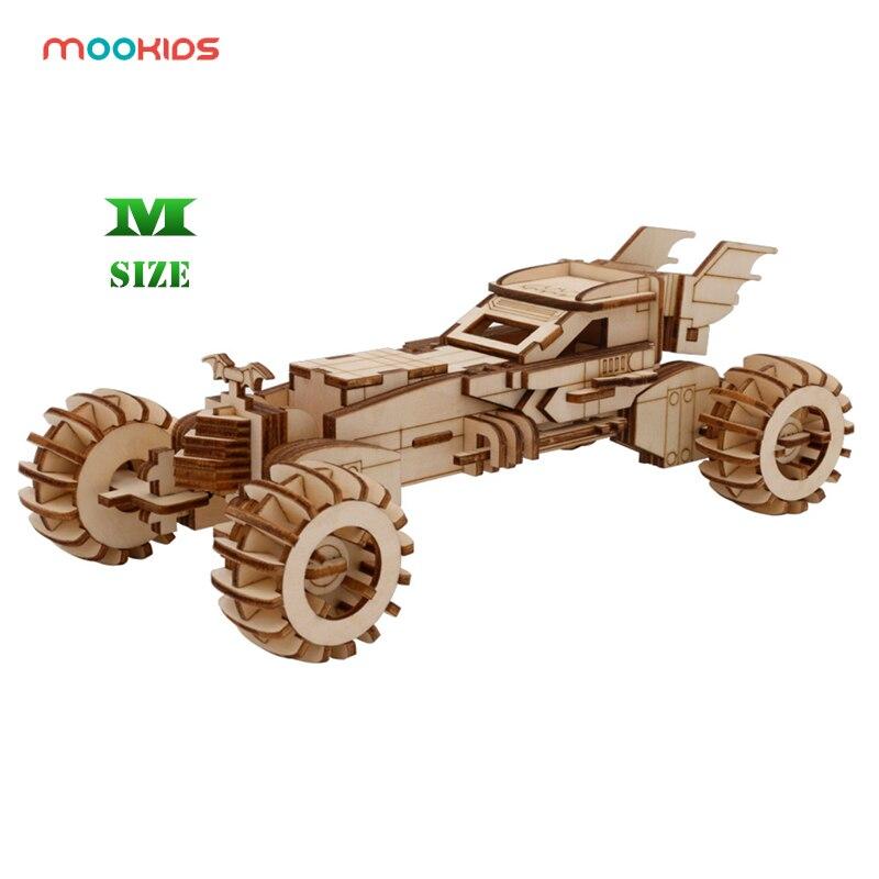 Mookids Wooden Puzzle Car Toys 3D Wooden Puzzle Games Bat Chariot Vehicle Car  Model Building Educational Toys  Adult Toys