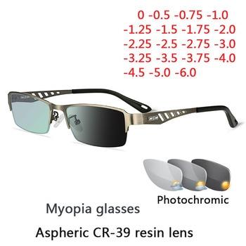 Photochromic Eye Glasses Men Women Myopia Eyeglasses Finished Glasses Students Short Sight Eyewear 0 -0.5 -1 -1.25 -1.5 -1.75 -2