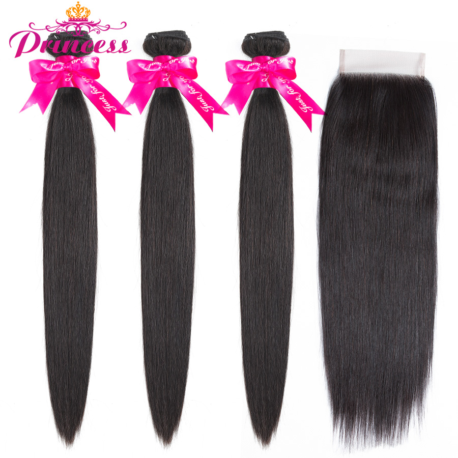 Beautiful Princess Peruvian Straight Hair 3 Bundles With Closure Double Weft Remy Human Hair Bundles With Lace Closure
