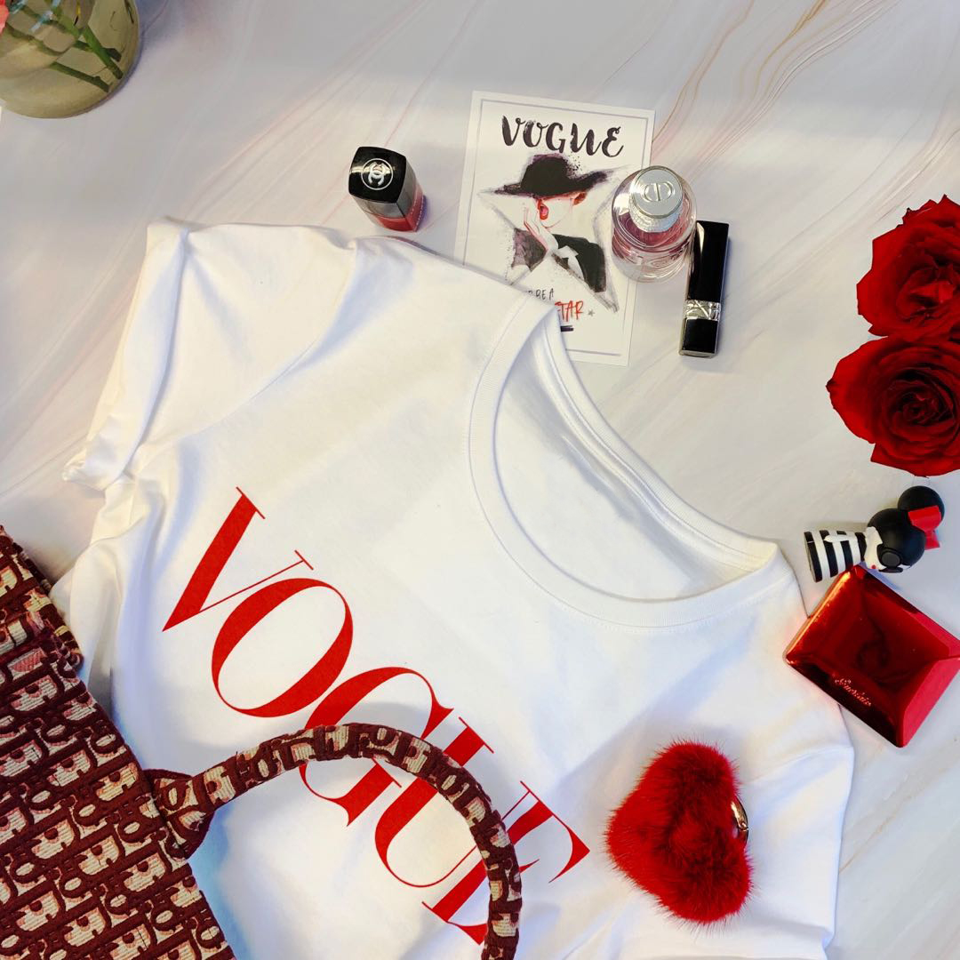 Summer New 2020 Fashion T shirt Women VOGUE letter print Harajuku Tshirt O-neck Short Sleeve T-shirt White Tops Female Clothing 2