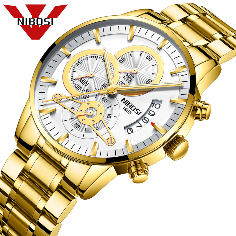 NIBOSI 2019 Fashion Watch Men Sport Quartz Clock Mens Watches Top Brand Luxury Steel Business Waterproof Watch Relogio Masculino