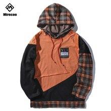 Mirecoo Hoodie Men Streetwear Plaid Patchwork Block Sweatshirt Hooded Pullover Harajuku High Street Hip Hop Sweatshirts