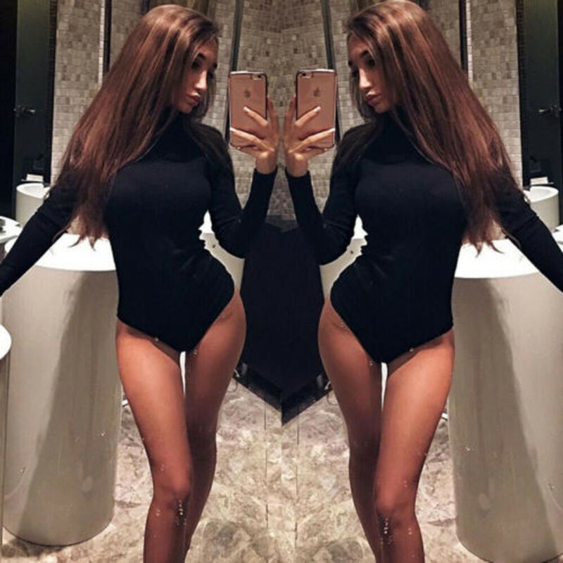 Womens Sexy Fashion Turtleneck Jumpsuit Auutmn Winter Black White Solid Long Sleeve Jumpsuits Bodysuit Bodycon Stretch Leotard