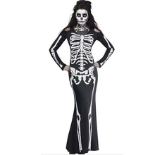 Halloween Costumes Long Sleeve Dress For Women Horror Skeleton Costume Elegant Lady Clothes