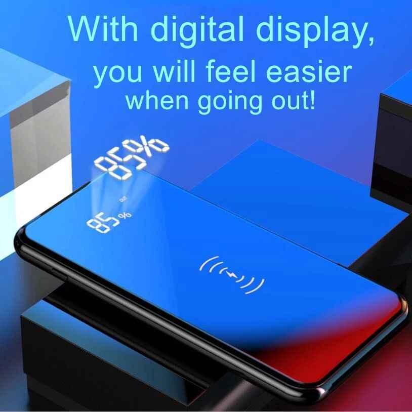 Banco de energía de 30000mah, Banco de batería externo, cargador inalámbrico incorporado, Banco de energía, cargador inalámbrico QI portátil para Samsung iPhone XS