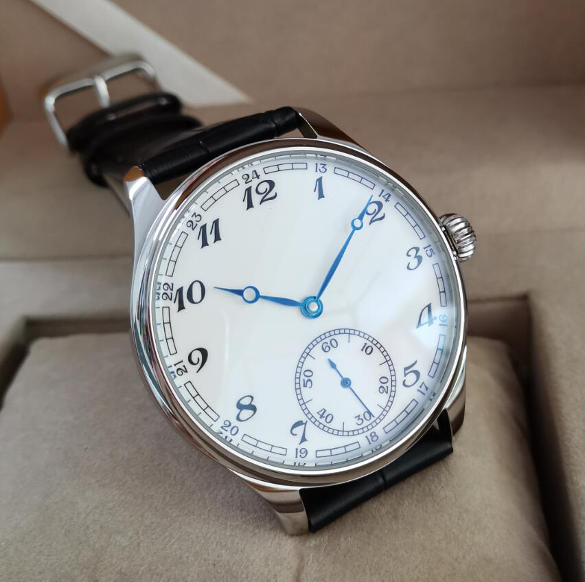 44mm Not Have Logo Mechanical Hand Wind Men's Watch White Dial Blue Hand Mineral Glass/Sapphire Seagull St3621 Movement G036