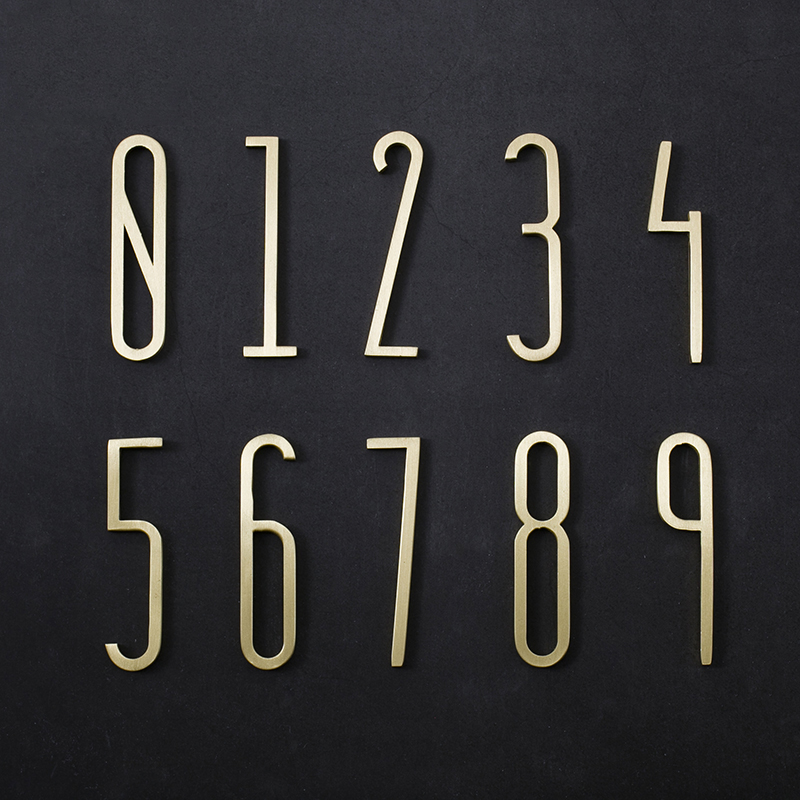 2pcs House Number Sign Plaque Numbers Address Door Gold Plate 3D Digits 1 2