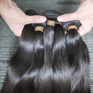Image 4 - Rosabeauty 4 묶음/많은 10 28 인치 자연 색상 브라질 스트레이트 번들 버진 헤어 Weft 100% 인간의 머리카락 학년 10A