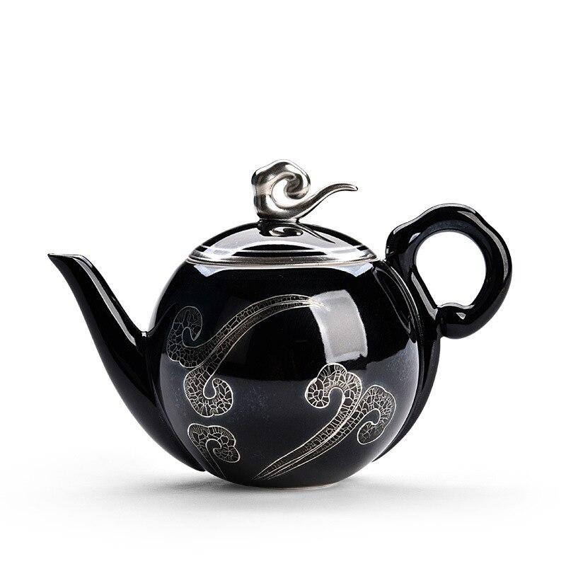 Japanese retro sterling silver Kung Fu tea set 999 pure handmade silver pot set home Kung Fu tea set Xiangyun teapot|Teapots| |  - title=